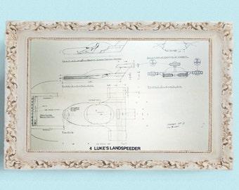 1977 LUKE'S LANDSPEEDER Star Wars Vintage Blueprint Poster