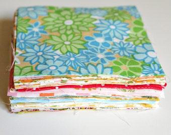 Vintage Sheet Scraps - Charm Squares - Quilt Charms - Quilting Fabric - Vintage Mix - 50 Pieces