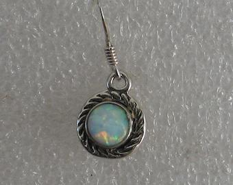 Vintage 8mm Opal Round Sterling  Dangle SINGLE  Earring