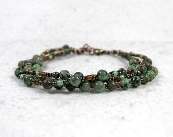African Turquoise Multi Strand Bracelet, Earthy Gipsy Bracelet, Natural Gemstone, Solid Copper, Boho Bracelet, Rustic, Throat Chakra