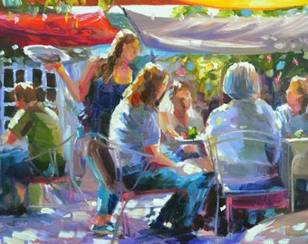 THE CORKSCREW Art Print of Original Oil Painting, Outdoor Restaurant