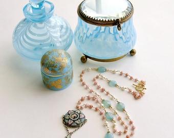 Peruvian Pink Opal Aqua Chalcedony Micro Mosaic Necklace - Floriana Necklace