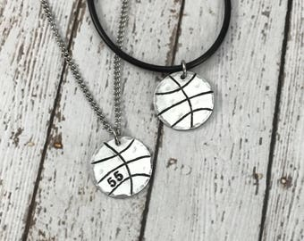 Custom Basketball Charm with number - Hand-Stamped Charm Necklace - Sports