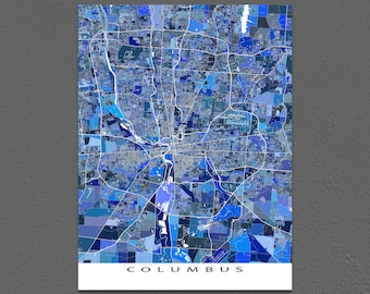 Columbus Map Art Print, Columbus Ohio, City Street Map