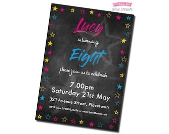 Printable Pink Stars Birthday Party Invitation - Chalkboard Background
