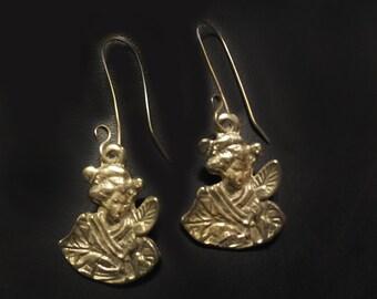 Geisha Girl Earrings in Sterling Silver