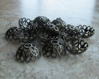 30 Antique brass large filigree beadcaps 11mm