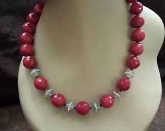 One strand beaded faceted red jade with jasper inlaid crystal