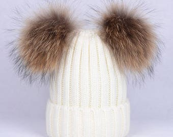 white beanies wool cotton hat with real fur ball double pom poms cute beanies custom for adult/children