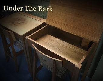 Traditional school desk in solid oak handmade to order.