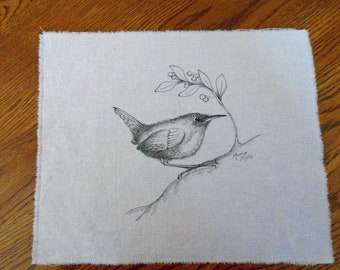 Pen & Ink on Fabric Original Drawing Quilt Square by Monica Minto, Wren