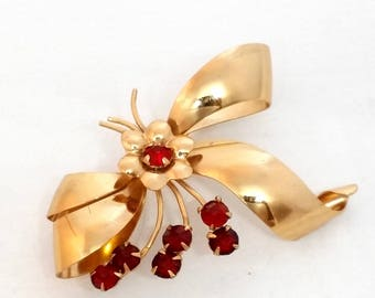 Vintage Rhinestone Brooch, Gold Ribbon Pin, Women's Jewelry, Red Rhinestones, Costume Jewelry, Mother's Day Gift, 1/20 10K Gold Filled