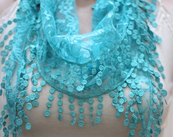 Green scarf - Summer scarf - woman scarf - scarves - lace scarf -  gift scarf - Hair accessories - woman accessories - gift - scarves - gift