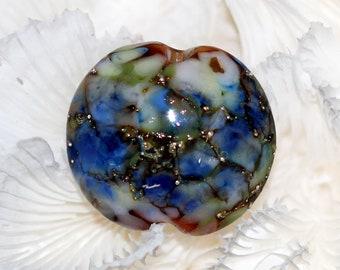 Old world focal lentil lampwork bead by joycelo