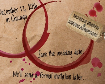 Save the Date Card - Wine Cork - Personalized Wedding Announcement - Printable Photo Digital File Invitation pp87