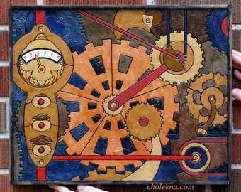 Gears- Paper Tile Mosaic- Small- Original Art- Unique Process- Gear Art- Clockwork Art- Steampunk Art- Industrial Art- Paper Art- Geek Art