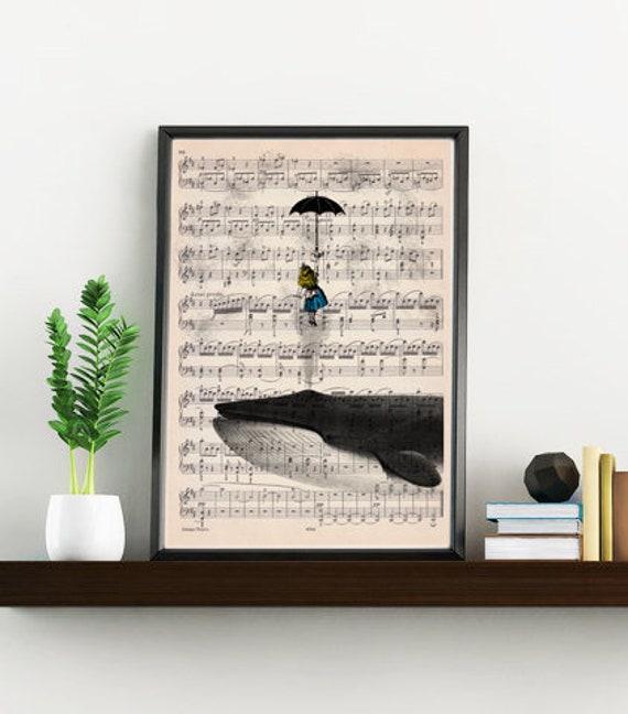 Alice in wonderland print on music sheet- Wall decor art print, Alice in wonderlad with whale ALW026MSL
