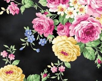 Quiltgate Ruru Bouquet Tea Party Large Floral Black (Half metre)