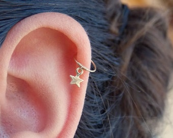 Tiny Gold Star cartilage Earring Helix Hoop Piercing