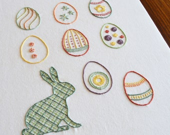 Easter Egg Hunt hand embroidery pattern, modern embroidery, Easter, rabbit, bunny, Easter eggs, embroidery patterns, PDF pattern