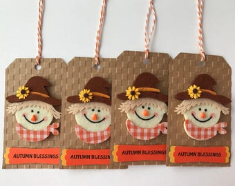 """Handmade Set of 4 """"Scarecrow"""" Tags, Scrapbooking, Gift Tags, Fall, Autumn, Tags, Card Making, Thanksgiving"""