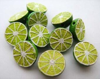 10 Tiny Lime Beads - CB385