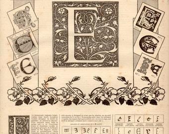 E Alphabet Antique Print 1897 Lithograph Letter ABC Poster Graphic Design Latin Historical Typography Designs