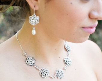 Bridal necklace Rhinestone Necklace Statement bridal Necklace Vintage Style crystal Necklace swarovski crystal wedding necklace ROSELANI