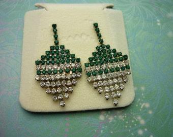 Vintage Crystal Earrings - Sparkly Green