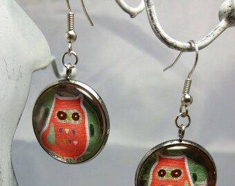 Stylized orange owl earrings