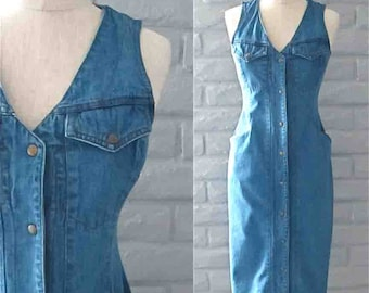 Vintage 1980's/1990's dress DENIM SNAP FRONT long sleeveless - S/M