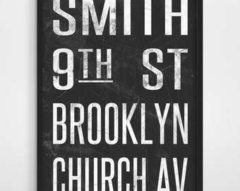 NYC Subway Sign Art Print - Vintage New York City Sign - Tram / Bus Scroll - City Print - Typography Poster - Modern Art Print - Wall Decor.