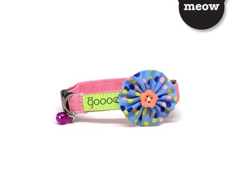 GOOOD Cat Collar   Bloomie - Popping  100% Baby Blue & Pink Cotton Fabric   Safety Breakaway Buckle