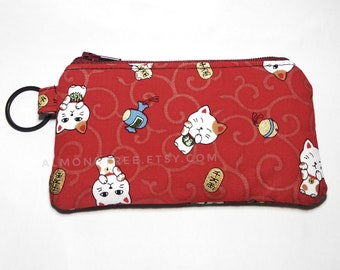 Maneki neko, Cat, Japanese key ring zip coin purse portefeuille women wallet portemonnaie cardholder id180406, money change travel organizer