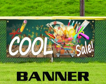 Cool Sale! Back To School Stationary Pencil Books Copy Vinyl Banner Sign