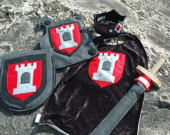 Knight Costume Gift Set BLACK and SILVER - Super Hero Costume - Halloween Costume - Kid Costume