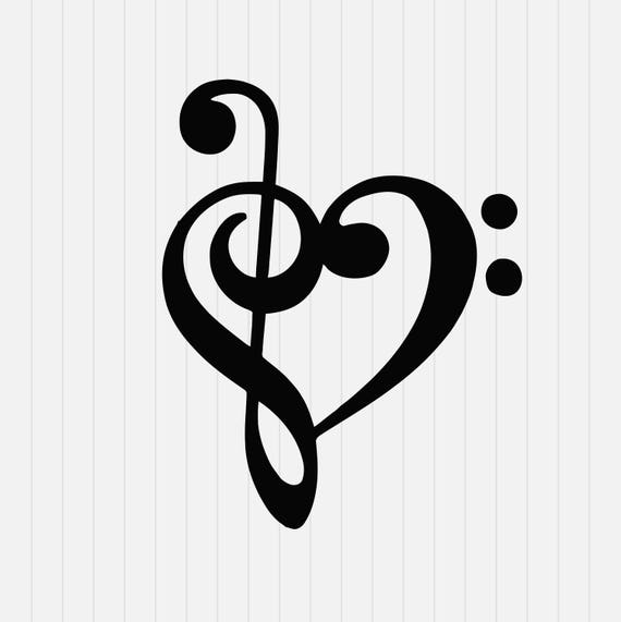 Song No Need Download: Music Note With Heart Svg Dxf Eps Png Pdf Download