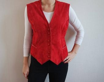 Vintage Leather Vest Women's  Red Leather Vest Suede Leather Red Leather Waistcoat Red Vest Suede Vest Womens Vest Bright Red Vest