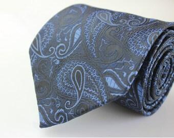 Navy Paisley Ties.Mens Silk Ties.Wedding Ties.Business Neckties.Wedding Ties.Gift For Him.