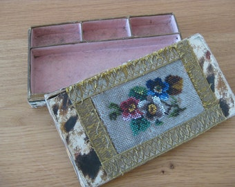 Victorian trinket box with glass bead flower lid