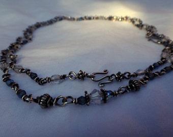 "32"" Adjustable Sterling Silver & Glass Necklace"