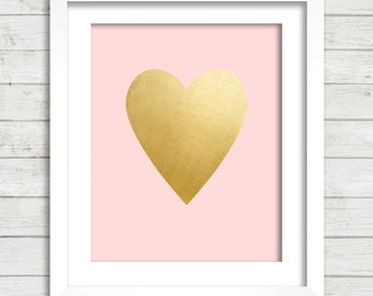 Gold Foil Heart Pink Background Digital Printable Wall Decor- Instant Download