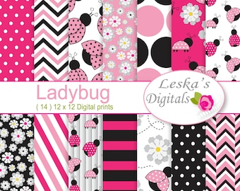 Pink ladybug digital papers, scrapbook paper for commercial use, pink white and black patterned paper, ladybug background