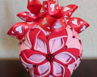 Pink and Red Valentine's Quilted Ornament-Blossom style
