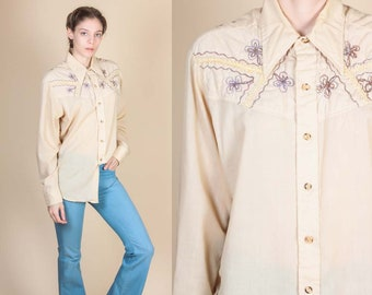 70s Boho Kennington Button Up Shirt - Extra Large // Vintage Western Quilted Embroidered Yoke Top