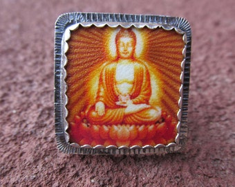Brown Buddha #1 Cocktail Ring Sterling Silver and Shrinky Dink Shrink Plastic Buddhist Yoga Religious Kitsch Jewelry