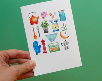 Illustrated kitchen greetings card. Watercolour birthday, new home, house, tea cup blank note card.