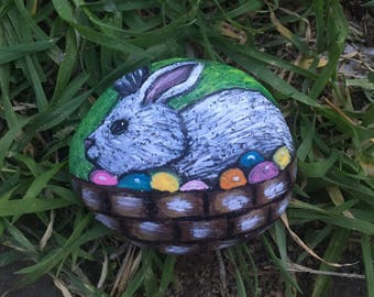 Painted Easter Bunny Painting on a beach rock