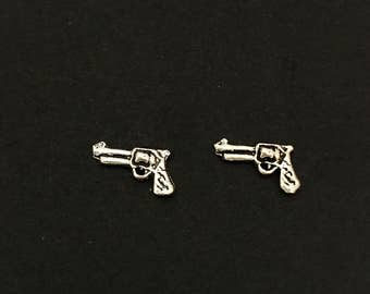 Sterling Silver Gun Stud Earrings, Pistol, Stud Earrings, Pistol, Gun, Sterling Silver, Earrings, Stud, Revolver, Silver, Nickel Free