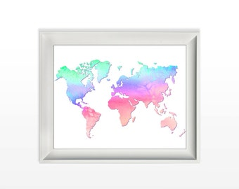 023 Watercolor World Map Wanderlust Modern Wall Art Home Decor Printable 8x10 jpg and pdf file INSTANT DOWNLOAD
